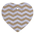 CHEVRON3 WHITE MARBLE & SAND Heart Ornament (Two Sides) Front