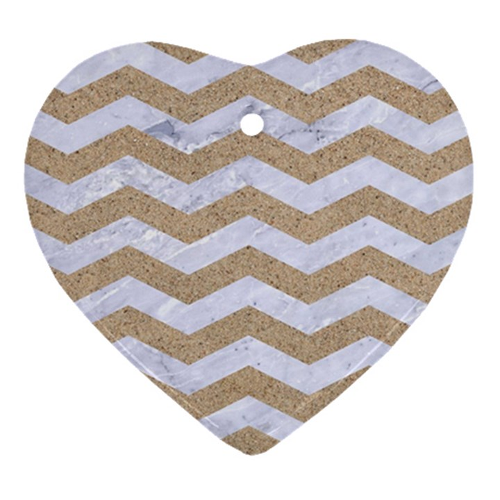 CHEVRON3 WHITE MARBLE & SAND Heart Ornament (Two Sides)