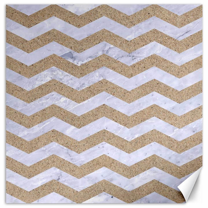 CHEVRON3 WHITE MARBLE & SAND Canvas 12  x 12