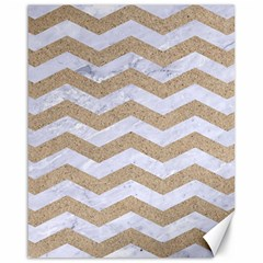 Chevron3 White Marble & Sand Canvas 16  X 20