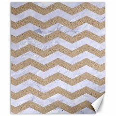 Chevron3 White Marble & Sand Canvas 20  X 24   by trendistuff
