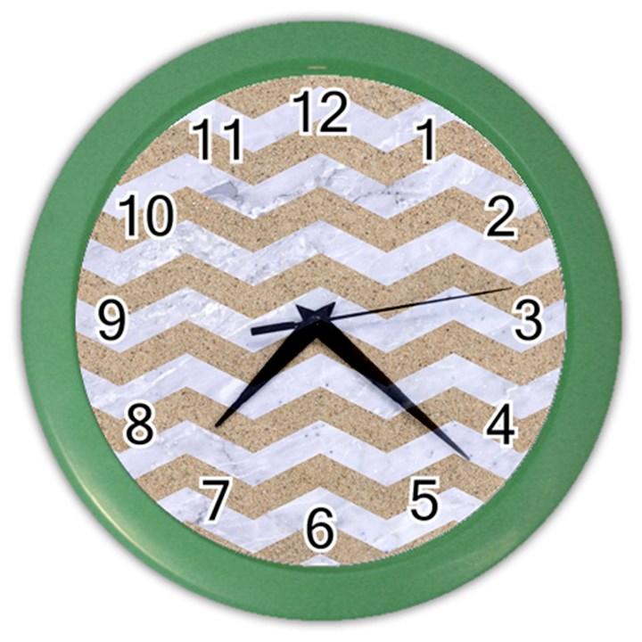 CHEVRON3 WHITE MARBLE & SAND Color Wall Clocks