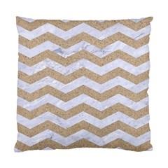Chevron3 White Marble & Sand Standard Cushion Case (one Side) by trendistuff