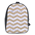 CHEVRON3 WHITE MARBLE & SAND School Bag (Large) Front