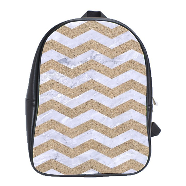 CHEVRON3 WHITE MARBLE & SAND School Bag (Large)