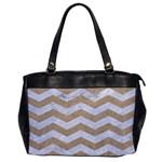 CHEVRON3 WHITE MARBLE & SAND Office Handbags Front