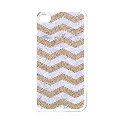 Chevron3 White Marble & Sand Apple Iphone 4 Case (white)
