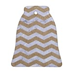 CHEVRON3 WHITE MARBLE & SAND Ornament (Bell) Front