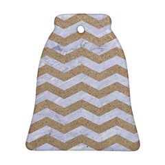 Chevron3 White Marble & Sand Bell Ornament (two Sides) by trendistuff