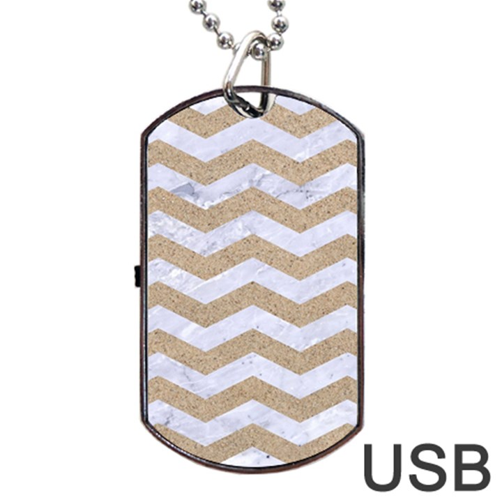 CHEVRON3 WHITE MARBLE & SAND Dog Tag USB Flash (Two Sides)