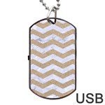 CHEVRON3 WHITE MARBLE & SAND Dog Tag USB Flash (Two Sides) Back