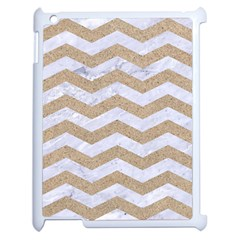 Chevron3 White Marble & Sand Apple Ipad 2 Case (white) by trendistuff