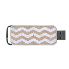 Chevron3 White Marble & Sand Portable Usb Flash (two Sides)