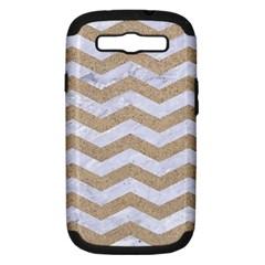 Chevron3 White Marble & Sand Samsung Galaxy S Iii Hardshell Case (pc+silicone)