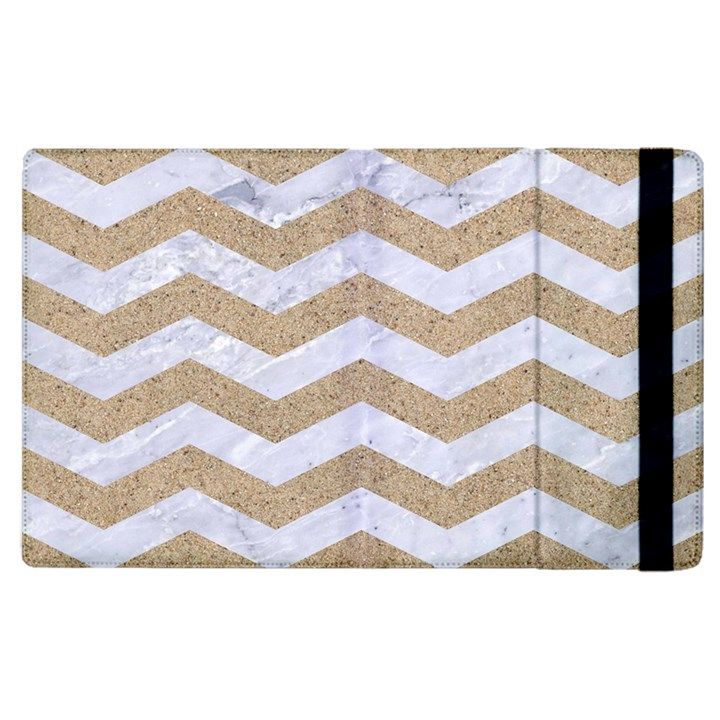 CHEVRON3 WHITE MARBLE & SAND Apple iPad 3/4 Flip Case