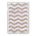 CHEVRON3 WHITE MARBLE & SAND Apple iPad Mini Case (White) Front