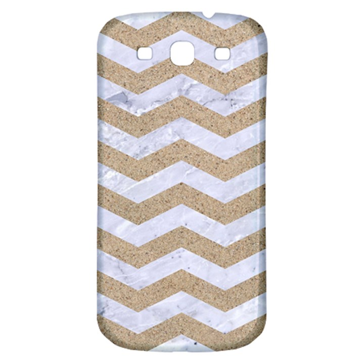CHEVRON3 WHITE MARBLE & SAND Samsung Galaxy S3 S III Classic Hardshell Back Case