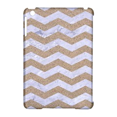 Chevron3 White Marble & Sand Apple Ipad Mini Hardshell Case (compatible With Smart Cover)