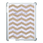 CHEVRON3 WHITE MARBLE & SAND Apple iPad 3/4 Case (White) Front