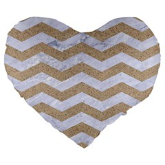 Chevron3 White Marble & Sand Large 19  Premium Heart Shape Cushions by trendistuff