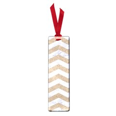 Chevron3 White Marble & Sand Small Book Marks