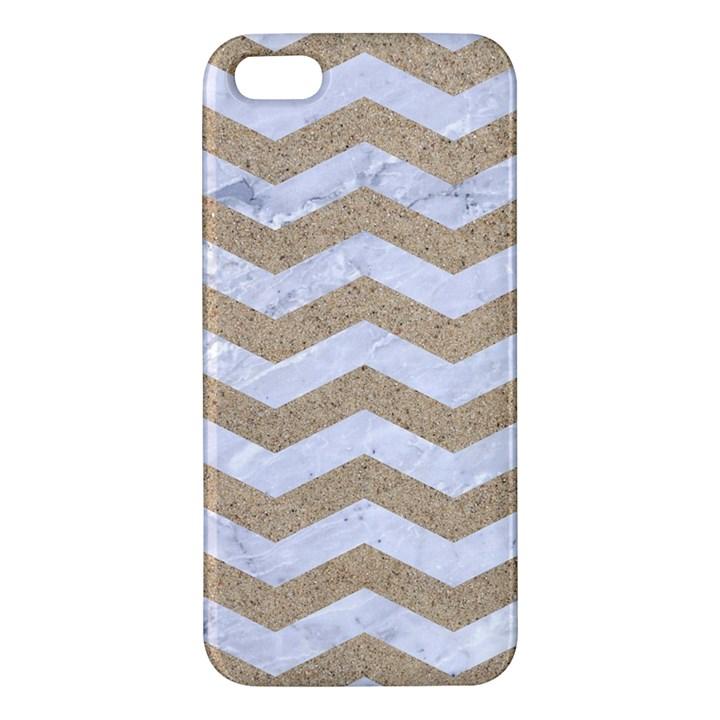 CHEVRON3 WHITE MARBLE & SAND Apple iPhone 5 Premium Hardshell Case