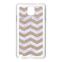 Chevron3 White Marble & Sand Samsung Galaxy Note 3 N9005 Case (white)