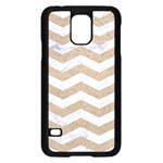 CHEVRON3 WHITE MARBLE & SAND Samsung Galaxy S5 Case (Black) Front