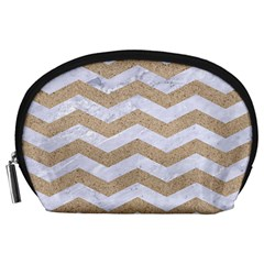 Chevron3 White Marble & Sand Accessory Pouches (large)
