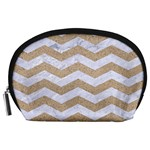 CHEVRON3 WHITE MARBLE & SAND Accessory Pouches (Large)  Front