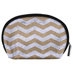 CHEVRON3 WHITE MARBLE & SAND Accessory Pouches (Large)  Back