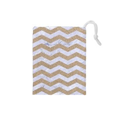 Chevron3 White Marble & Sand Drawstring Pouches (small)
