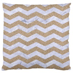 Chevron3 White Marble & Sand Standard Flano Cushion Case (two Sides)