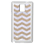CHEVRON3 WHITE MARBLE & SAND Samsung Galaxy Note 4 Case (White) Front