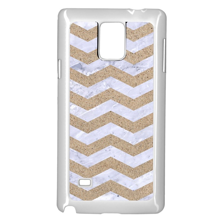 CHEVRON3 WHITE MARBLE & SAND Samsung Galaxy Note 4 Case (White)