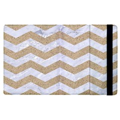 Chevron3 White Marble & Sand Apple Ipad Pro 12 9   Flip Case