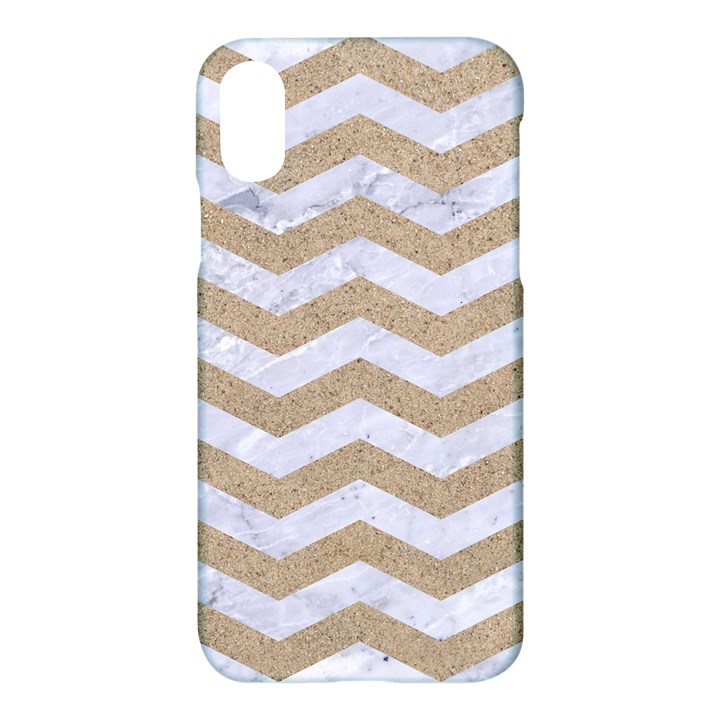 CHEVRON3 WHITE MARBLE & SAND Apple iPhone X Hardshell Case