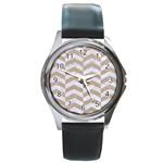 CHEVRON2 WHITE MARBLE & SAND Round Metal Watch