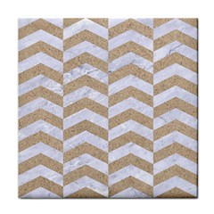 Chevron2 White Marble & Sand Tile Coasters
