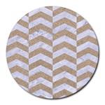 CHEVRON2 WHITE MARBLE & SAND Round Mousepads