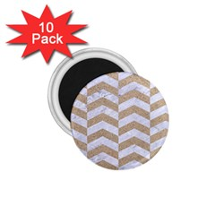 Chevron2 White Marble & Sand 1 75  Magnets (10 Pack)  by trendistuff