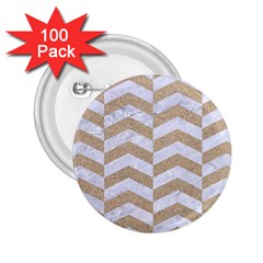 Chevron2 White Marble & Sand 2 25  Buttons (100 Pack)