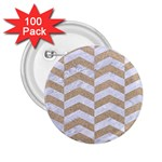 CHEVRON2 WHITE MARBLE & SAND 2.25  Buttons (100 pack)  Front