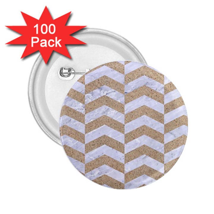 CHEVRON2 WHITE MARBLE & SAND 2.25  Buttons (100 pack)