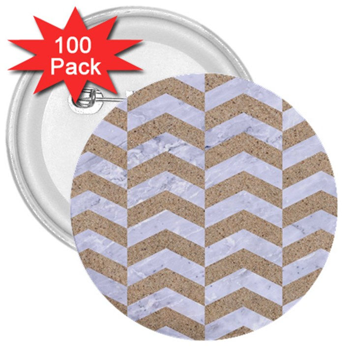 CHEVRON2 WHITE MARBLE & SAND 3  Buttons (100 pack)