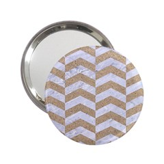 Chevron2 White Marble & Sand 2 25  Handbag Mirrors by trendistuff