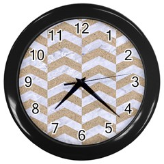Chevron2 White Marble & Sand Wall Clocks (black)