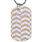 CHEVRON2 WHITE MARBLE & SAND Dog Tag (One Side)