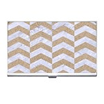 CHEVRON2 WHITE MARBLE & SAND Business Card Holders