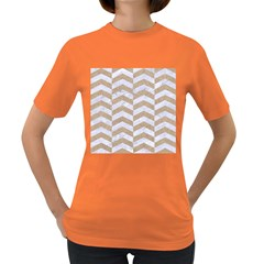 Chevron2 White Marble & Sand Women s Dark T Shirt